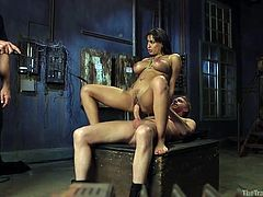 Mark has this slut right where he wants her. The big breasted beauty has a spectacular body, that looks even better when she is tied up in rope. She rides her master hard, while she is tied up. She deserves a good fucking.