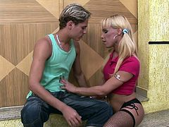 If you were with a cute blonde tranny in pigtails, you would certainly get hard like this guy. Watch as the passionate couples kisses each other. It looks like this slut needs his cock, so she is on her knees, giving great head. She gets rimmed as a reward