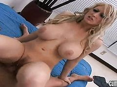 Blonde Candy Manson with huge jugs and bald beaver needs nothing but her mans hard pole in her mouth to get orgasm