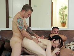 Sarah and her boyfriend know his friend's frustration. After a messy breakup, he hasn't been laid in quite a while, and it is even affecting his work performance. Sarah's boyfriend invites his buddy over, to get some relaxation, with the help of his girlfriend's expert cock-sucking mouth and tight pussy.