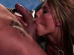 Charisma Cappelli gags on guys throbbing fuck stick