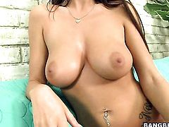 Brunette Cindy Jones does dirty things and then gets her lovely face cum drenched
