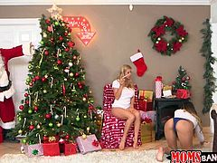 Alexis wants to open a present, but it's not hers. Sophia is his son's girlfriend, but his mom just can't keep her eyes or her hands off of her, and she could not keep her tongue out of her! She gets a hold of her by the Christmas tree and finally gets her taste. Santa comes, will he be thanked?