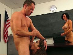 Slutty small titted schoolgirl Riley Steele gets her pussy fingered and her mouth fucked hard in front of big breasted MILF teacher Veronica Avluv. Mature woman is naked and sex hungry too.