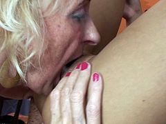 Old granny and young girl Lesbian sex in pool