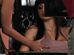 Aletta Ocean with big jugs and Angelica Heart open their legs legs wide for each other and enjoy pussy eating