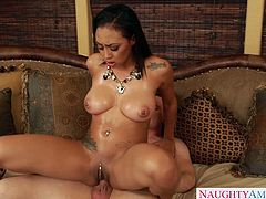 Alluring brunette girlie with naturally big titties takes cock in her pierced cunt