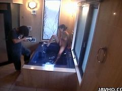 Backstage video of masturbating in the bath tub Japanese girlie