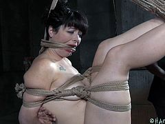 Siouxsie is all wrapped up with no place to go. Her executor has her perfectly secured by ropes, so she's not going anywhere. Her legs are tied in such a way as to be suspended in the air, slightly parted, so her bald pussy is accessible. He starts fucking her with a dildo on a stick. Long-distance!