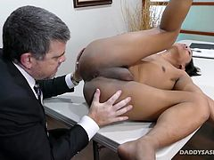 Daddy calls Asian twink Freddy into the conference room to discuss his poor performance with the company. When Daddy Mike tells the twink he is terminated, Freddy begins to beg for his job. Willing to do anything, this cute Asian gay boy shows Daddy Mike how well he can perform in a different realm. Freddy pulls Daddys cock out of his fly and begins a long blowjob. Daddy Mike savors the cock sucking and decides he wants some of this Asian twinks ass. After some ass rimming and finger fucking,