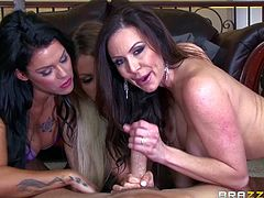 Johny gets entertained by three hot ladies with big boobs, who seem to have a huge appetite for sex. Click to watch these hungry for cock bitches, sucking his appetizing dick. While the luscious brunette tries the inciting cowgirl position, the foxy blonde slut enjoys face sitting... Have fun!