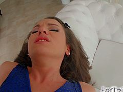 Brunette Nataly Gold lets cum drip down her chin and swallows after ass-to-mouth session