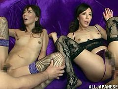 These lovely Japanese babes look stellar in their lingerie, and they love to ride hard cock side by side, as they fuck their husbands. They are very skilled at sucking cock, too. Watch as the hotties get fucked in their tight asshole.