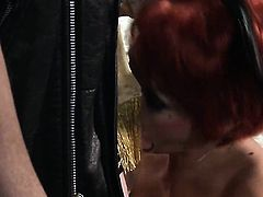 Alektra Blue has fire in her eyes as she milks cum loaded pole of her guy