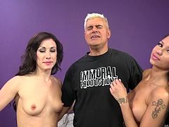 Jennifer and Raven share this guy's cock and everyone cums