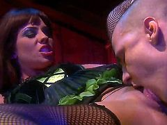 Lovely brunette Kirsten Price in green dress and black stockings gets her trimmed pussy licked and banged in the dark. She rides on top of cock until her hot lover shoots his load.