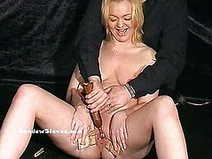 Mousetrapped blonde slaveslut Donna Dennieres pussy torture and sexual domination of submissive babe