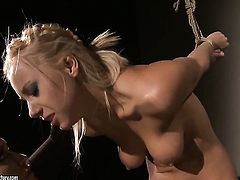 Blonde Kathia Nobili and Nikky Thorne open their legs legs wide for each other and have lesbian fun
