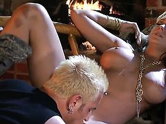 Huge tits blonde is having sex