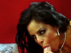 Raven haired Latina is shown giving a blow job. Watch her doing it like a pro. She looks really amazing as she is getting a side fuck in this video.