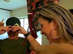 Hot pornstars Sara Jay, Yurizan Beltran, and Alexis Fawx are naked in the dorm and rock the party. Juicy women with huge tits and big butts have sex with college guys in public.
