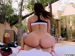Dark haired sexy Jynx Maze with natural tits gets her shaved snatch and apple ass fucked from your point of view in the backyard. Thick cock in her tight sexy ass is the fun!