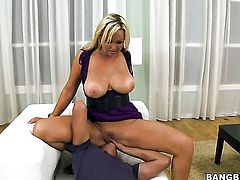 Blonde bombshell Abbey Brooks is sexually happy to be dicked by dude with rock hard boner over and over again
