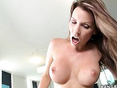 Cock riding mom Courtney Cummz with fake tits