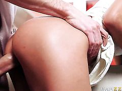 Shalina Devine with massive breasts gets her mouth destroyed by rock solid sausage of Danny D