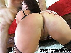 Flower Tucci with juicy ass and bald cunt enjoys some loving in hardcore action with Charles Dera
