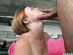 Flirty goddess Jodi Taylor with big bottom and hairless muff gets her mouth attacked by guys beefy stiff love torpedo