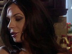 Beautiful brunette Kirsten Price dressed in blue spreads her sexy legs and gets her trimmed pussy tongue fucked by lesbian August in the dark. Her snatch is so fucking sweet.
