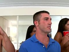 Rachel Roxxx, Alexis Fawx and Jamie Valentine are hot naked pornstars that make no secret of their sexy huge asses and big tits in the dorm. They turn college party into orgy with ease.