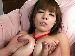 Milf Airu Oshima with gigantic jugs stripping down to her bare skin