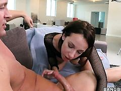 Brunette Jada Stevens with bubbly ass gets covered in love juice