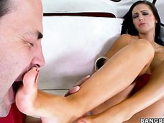 Brunette Jenna Presley has fire in her eyes as she takes cumshot on her lovely face
