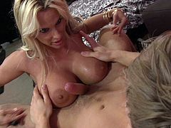 Doting brunette giving a steamy blowjob then gets drilled twosome
