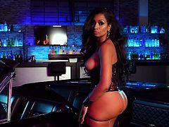 Visit official Playboy's HomepageEbony in hot lingerie starts undulating and teasing with her amazing pair of tits and curvy ass during a special cam solo erotic play