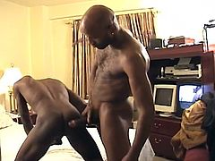 Sometimes things happen very quickly. You just see the admiration in the eyes of your opponent and make him an offer, which he will not give up. Such thing happened to Peanut & Big Daddy. Just a few seconds and he greedily sucking on this big black rod.