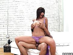 Lily Paige gives giving oral pleasure to horny guy