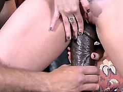 Dude is shoving a huge dildo inside his girlfriend. He loves to use toys on her. She too likes it when he does that and soon she is all wet inside.