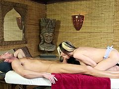 Slutty massage therapist pleases her clients with great blowjobs