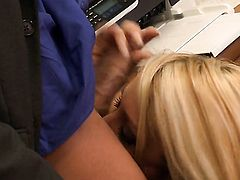 Blonde is having anal sex in office