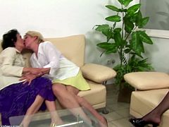 Taboo lesbian love with dirty grannies