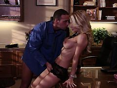 Jessica drake lets guy stick his thick tool in her mouth