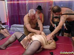 extreme fat oiled babe double penetrated in lerderhosen gangbang