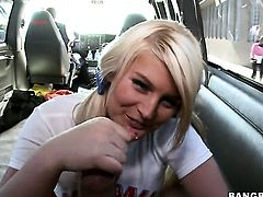 Blonde Julie Stylez with phat booty is ready to suck guys worm all night long