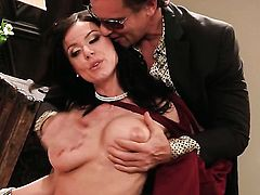 Kendra Lust with gigantic knockers jerks man off with desire