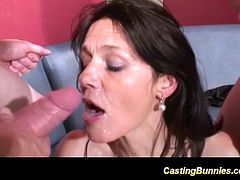horny french stepmom enjoys her first casting for extreme doublepenetration gangbang