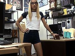 Poor blonde babe in glasses pawns her pussy and pounded